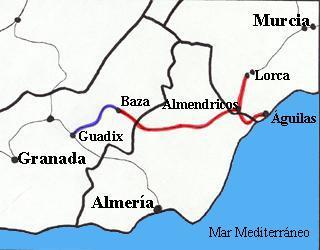 Mapa ferrocarril Lorca-Baza y Baza-Guadix