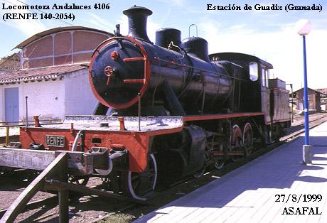 19990827 Locomotora Andaluces 4106 (RENFE 140-2054). Guadix (GR)