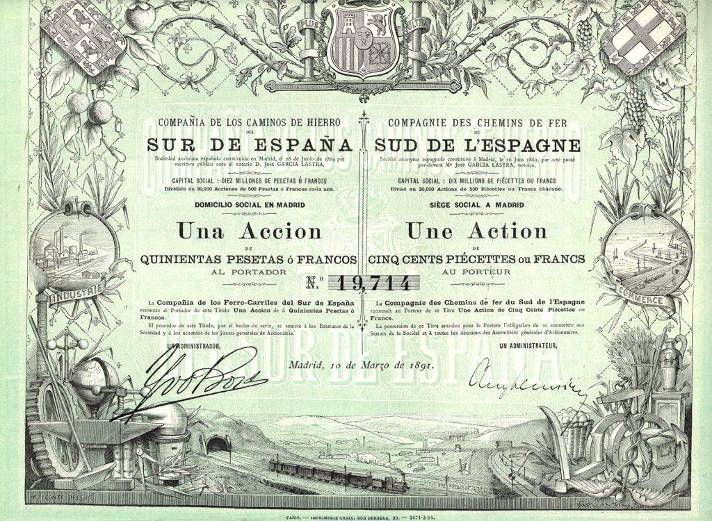 Accion-Cia-Caminos-Hierro-Sur-Espana-10-marzo-1891-coleccion-particular-J-Enrique-Alcaraz